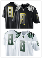 Free Shipping Oregon Duck Marcus Mariota 8 College Football Limited Jerseys - White black  mix order