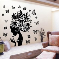High quality! 90*70 cm The Floral Fairy Butterfly beauty Sticker Print type Decoration Fashion Wall Decal Sticker Home DIY mural