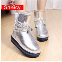 2013 winter boots water proof genuine leather boots fashion warm fur  snow boots  women free shipping chirstmas