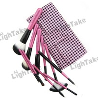 Brand New Fashion 10pcs Makeup Brush Set Profession Cosmetic Tool Maquillaje Kit On the Go - Pink