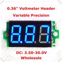 """[ 100 pieces / lot] Blue led Display Color 0.36"""" Digital Voltmeter  Header dc 3.50-30.0 No Lead 3 digit  Voltage Panel Meter"""
