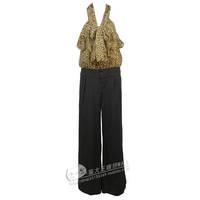 Bow ruffle leopard print stripe chiffon jumpsuit wide leg pants jumpsuit 053044