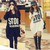 Spring and autumn 2014 plus size long design loose t shirts women pullovers tops sweatshirt hoodies