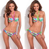 New Women's Swimwear Graffiti printing 1/2 cup mold halter strap Bikini Set Fashion Swimsuit