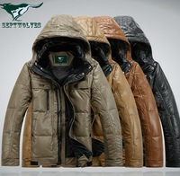 2013 winter new brand men's leather down jacket ,genuine leather jacket ,men's fur jacket top quality free shipping size M-3XL