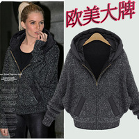 Fashion women's 2013 autumn and winter casual wear plus velvet thickening batwing sleeve woman outcoats