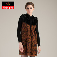 Free shipping New 2013 winter Women thermal o-neck knitted pullover outerwear one-piece dress Leopard sweater dress