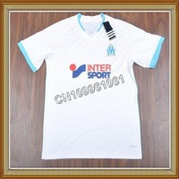 NEW SEASON!!! Marseille Home White Soccer Jersey 13/14,Embroidery Logo Thailand Quality Marseille White Jersey+free Shipping