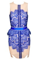Free shipping Fashion PU decorative stitching lace dress bdaycon. BULE TB 5745-1