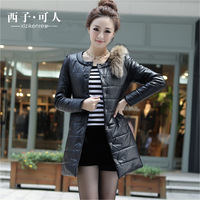 Licensor xizi PU wadded jacket female medium-long 2013 down cotton wadded jacket slim winter cotton-padded jacket outerwear