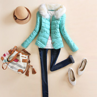 Free Shipping 2013 fur collar slim fashion cotton-padded jacket short design wadded jacket cotton-padded jacket female