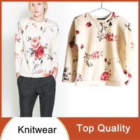 New Fashion women's Elegant Long Sleeve O-neck silky Knitted Pullovers Flowers Print Vintage Casual Short Sweatershirt Coats