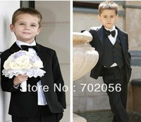 solid black boys Wedding suits Formal Party Groom Jacket+Pants+bow tie/necktie+vest+shirt Dress Suit 5 pcs set 5sets/lot #3465