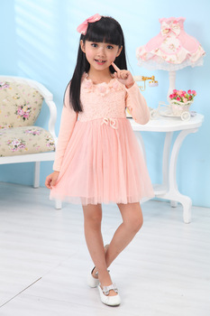 free shipping 2013 spring and autumn girls' lace dresses princess dress children casual clothing new fashion baby winter wear