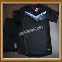 Free Shipping!!12/13 Lyon Third Black Soccer Jersey,Soccer Shirt with Short,Lyon UCL soccer kit+Embroidery Logo Soccer Uniform