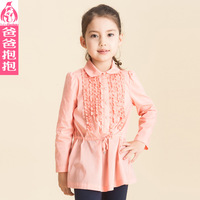 Female child shirt 2013 autumn cotton blouse long-sleeve medium-long t-shirt,girls outerwear princess shirt clothes