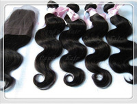 Cheap Body Wave 1 Piece Lace Top Closure With 4pcs Hair Bundle Malaysian Virgin Hair 12-30inch Mix Length Free Shipping