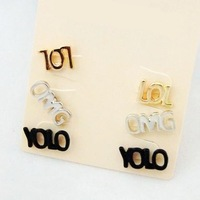LOL,YOLO, OMG 3 pairs/set earrings  ,wholesale price jewelry ,high quality, 3.16192.Max Ring ,Free shipping