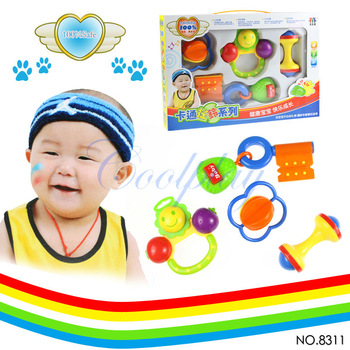 Free shipping  4pcs/Lots CP8311 New Colorful Lovely Baby Toddlers Pram Crib Music Toy Activity Plastic Bell Rattles Toy Set