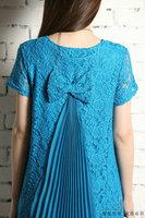 Maternity clothing maternity lace dress whith bow short-sleeve pleated back