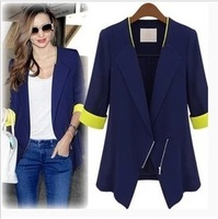 Fashion women's slim medium-long blazer slim waist fifth sleeve suit outerwear