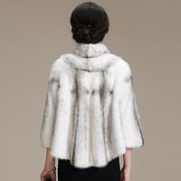 2013 marten overcoat mink fur coat fur cape cloak short design female white