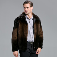2013 male marten velvet mink marten velvet fur turn-down collar outerwear overcoat