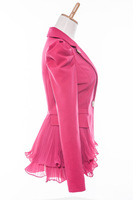 women's chiffon patchwork spring and autumn outerwear fashion slim short blazer design