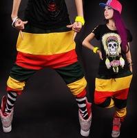 New fashion Jamaican Reggae Harem Hip Hop Dance Pants Sweatpants Costumes Green Yellow Red female sports trousers