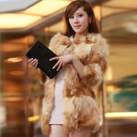 Fur coat 2013 autumn and winter women fox raccoon fur o-neck gold medium-long