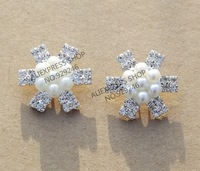 free shipping 5pcs/lot 24mm round snow-white star-shape pearl clear crystal rhinestone button silver coat shoes bags decoration
