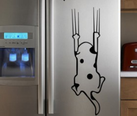 Free shipping cartoon child real refrigerator kitchen cabinet Wall Stickers tile furniture glass stickers Save me Cat(China (Mainland))