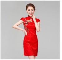 Bride evening dress red short design married cheongsam autumn 2013 formal dress