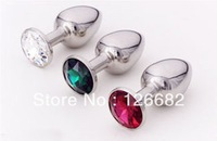 Wholesales!!! Size:28*65MM Metal Mini Anal Toys For Men, Butt Plug,Booty Beads, Stainless Steel+Crystal Jewelry, Adult Products