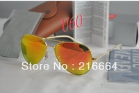 3026 62mm Glass reflector color lenses RAY 75th anniversary edition color reflective sunglasses , men / women sunglasses