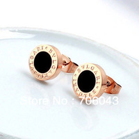 Fashion Women Round gold Earrings 8mm Titanium Steel Plating 14 k Mosaic Gold Earpin Wholesale 2pair/lot Free Shipping