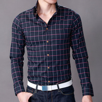 2013 autumn shirt PEACEBIRD male long-sleeve shirt slim men's clothing plaid shirt