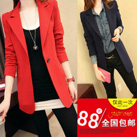 Women's small suit jacket 2013 women's slim medium-long long-sleeve suit one button