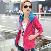 2013 cardigan autumn casual zipper with a long-sleeve hood sweatshirt spring and autumn Women