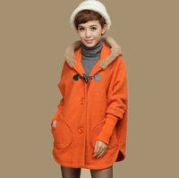 2013 batwing sleeve horn button cloak woolen outerwear female medium-long loose casual wool coat