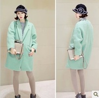 2013 medium-long woolen outerwear loose formal casual overcoat mint green female