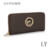 designer brand leather woman wallets zipper lady purse with removalbe card holder