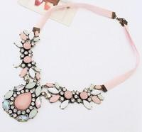 JC Fashion Necklaces Pink Big Teardrop Crystal Necklaces & Pendants Hot Sale Vintage Necklaces Statement Choker Jewelry Necklace