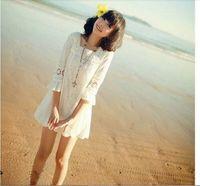 2014 summer dress  lace crochet chiffon vintage dress casual  female vestidos mini silk beach dress freesship