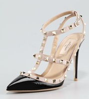 Rockstud Patent Sandal, Black  ladies fashion high heels womens party sexy shoes T-strap with one strap across instep