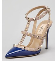 Rockstud Two-Tone T-Strap Sandal Blue T-strap buckled ankle wrapPoudre ladies fashion high heels womens party sexy shoes