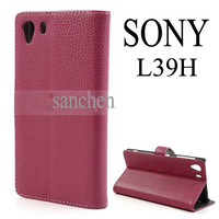 For Sony Xperia Z1 Honami C6903 C6902 C6943 L39h Rose Litchi Leather Wallet Cover Case Stand Holder Accessories FreeShipping