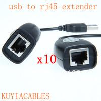 10PCS /LOT  Hot USB CAT5/CAT5E/6 RJ45 Ethernet Extender Lan Extension Cable Adapter Repeater Wholesale