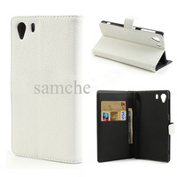 white Litchi Grain Wallet Style Folio Leather Stand Case for Sony Xperia Z1 Honami C6903 C6902 C6943 L39h + film  FreeShipping
