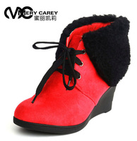 Honey caylee thermal wedges snow boots autumn and winter wedge boots round toe high-heeled berber fleece boots